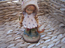Signed sarha kay Anri + Valentine Italy Woodcarving Young Girl In Bonnett