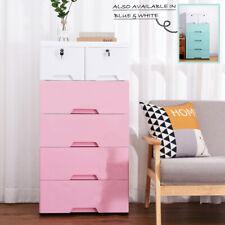 3/4/5 Tier Tallboy Dresser Chest of Drawers 4 Wheels Big Storage Blue Pink White