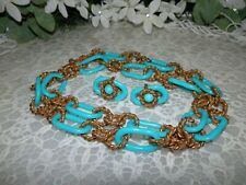Cheery Miriam Haskell Turquoise Loops & Russian Gold Necklace Earring Set