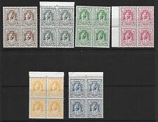 JORDAN 1942  POSTAGE 6 VALS IN IMPRINT BLOCKS of 4  MNH
