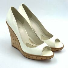 Aldo Womens Cork Wedge Heel Pumps White Ivory Peep Toe Slip On Shoes 7 EUR 38