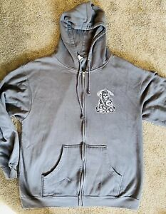 SAMCRO Hoodie XL Sons of Anarchy Grey Zip-Up Sweater