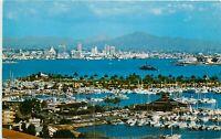 Chrome Postcard CA Birds Eye View San Diego Shelter Island Point Loma Boats