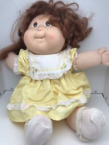 Cabbage Patch Kids Doll Vintage 1987 Girl Blonde Hair Yellow Dress
