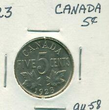 1923 Canada 5 cents AU58