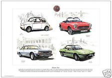 CLASSIC FIAT - Fine Art Print - 500, 124 Spyder, X 1/9 & 130 Coupe illustrated