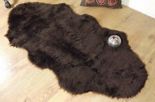 Chocolate Brown Faux Fur Double Sheepskin Style Rug 70 x 140cm Washable