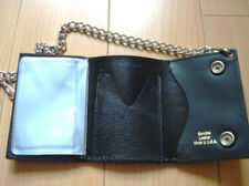 New Black Leather Biker/ Trucker Trifold Chain Wallet