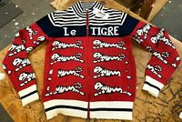 Le Tigre Sweater Men's Striped Zip Up 80's authentic knit New w Tags ALL SIZES