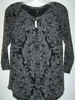 Lucky Brand Boho Black/Gray Paisley Top Women S Keyhole Neckline 3/4 Sleeves NEW