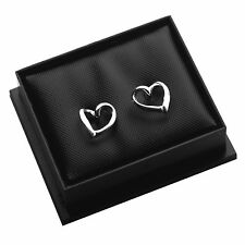 Genuine 925 Sterling Silver Open Heart Stud Earrings / Studs with Gift Box