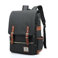 Men's Black Canvas Shoulder Bags Backpacks School Laptop Travel Rucksack Satchel