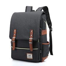 Men's Black Canvas Shoulder Bags Backpacks School Laptop Travel Rucksack Satchel
