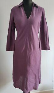 Boden Size 12R Purple Short Sleeve Linen Shift Dress Long Sleeve DAMAGE