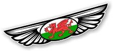 Winged Wing Emblem & Welsh Wales CYMRU Flag for Motorcycle Helmet Car sticker
