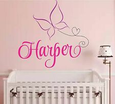 wall decal Butterfly Decal Name decal nursery girl's room Vinyl Wall Art, person