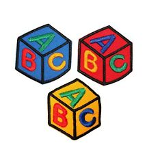 ID 0938ABC Set of 3 Kids ABC Block Patches School Embroidered Iron On Applique