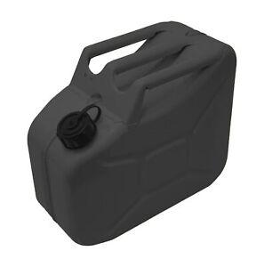 STEL 10 Litre Black Screw Top  Metal Fuel Tank Jerry Can Gasoline Diesel Petrol