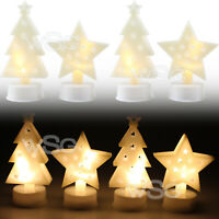 4x led Christmas Window Festive Candles Star Tree Warm Light Battery Operated