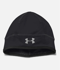 New Under Armour Men's UA Coldgear Infrared Run Beanie Black Reflective OSFM