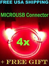 4x Pcs LOT RED LED GLOW in DARK MicroUSB Charger Cable for Samsung HTC LG +GIFT