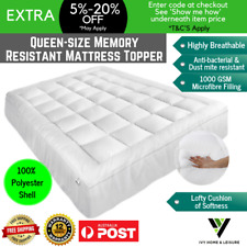 Queen Bed Mattress Protector Topper Memory Resistant Foam Pillow Top Soft Cover