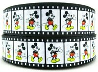 """1"""" 2 YARDS Film Strip Classic Mickey Mouse Grosgrain Ribbon Bows Crafts Cards"""