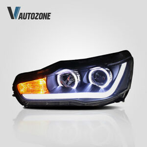 Set For Mitsubishi Lancer Headlight EVO X 2008-2018 DRL Front Lamp Angel Eyes