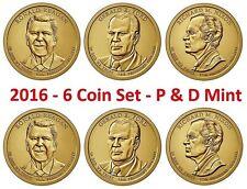 6 Coin Set 2016 P D President Ford Nixon Reagan Presidential Dollar Coins