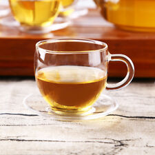 70ml Heat Resistant Clear Glass Herbal Tea Cup Coffee Mug With Saucer