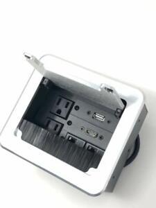 Yolkvisual Conference Table Connectivity AV Box 2 AC +1 HDMI+1 USB +2RJ45 Silver