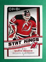 2010-11 OPC Glossy Insert Stat Kings #SK-19 Martin Brodeur 9 Shutouts NJ Devils