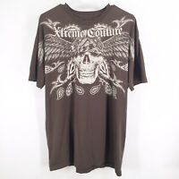 Xtreme Couture Mens Size XL Skull Wings Bandanna Shirt Short Sleeve Brown