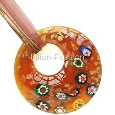 Millefiori Gold Foil Brown Round Lampwork Glass Murano Bead Pendant Wax Necklace