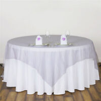 """53"""" Sheer Organza Fabric Tablecloth Square Wedding Table Cover Cloth Party Decor"""