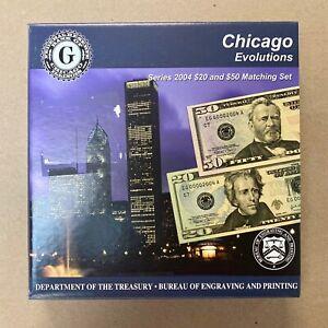 FRN 2004 Series 2004 USA BEP Chicago Evolutions - $20 & $50 Matching Set MINT