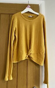 Topshop Stunning Mustard Yellow Knot Front Jumper Top Size 12