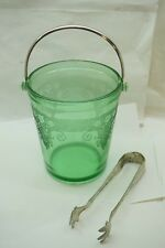 VINTAGE FOSTORIA GLASS ICE BUCKET ELEGANT ETCHED FLORAL VESPER PATTERN TONGS