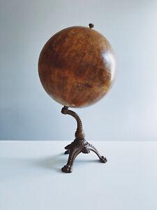 Antique Terrestrial Danish Globe Cast Iron Lion Paws JORDGLOBE KJOBENHAVN 1880