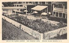 1930's? Flower Garden New Prospect Hotel Shelter Island Heights LI NY post card
