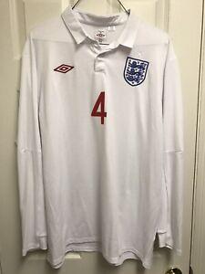 NWOT 2009/10 #4 Steven Gerrard England Home XL Jersey Umbro White 48 Long Sleeve