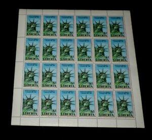 LIBERIA #1048, 1986, STATUE OF LIBERTY CETENNIAL, SHEET/24, MNH, NICE LQQK