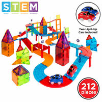 BCP 212-Piece Kids Magnetic Tile Car Race Track STEM Building Toy Set w/ 2 Cars