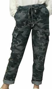 Womens Italian Ladies Camo  Soft Stretch Cargo Magic Trouser Jogger Pant Regular