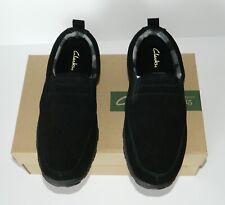 CLARKS Men's Josh Twin Gore Slip On Slipper Moccasin Shoes Suede Black Size 10