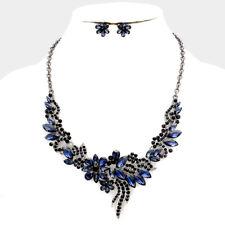 Montana Blue Gun Metal Glass Crystal Flowers Necklace Set Evening Wear