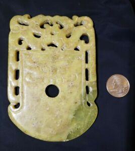 antique chinese calcified jade pendant amulet translucent stone