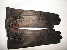 """Vintage GANT CHANUT Black Soft Leather 9.5"""" Length France Gloves No Lining 6.5"""