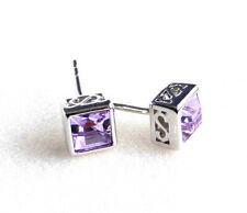 Mens Stud Earrings White Gold Plated 5mm Violet Lilac Square Simulated Diamond