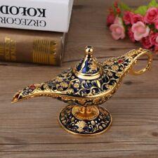 Blue Metal Carved Aladdin Lamp Magic Vintage Home Tea Oil Pot Arabian Art Craft